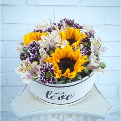 Gracias por la preferencia 🌻 #cajadegirasoles #crisantemo #alstroeméria #pedidoadomicilio