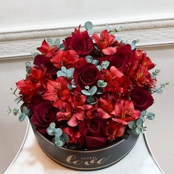 El pedido en específico ❤ rosa y astromelia rojas🥀🌿 #regalaflores #floresapedido #rosasrojas #astromelias #eucaliptus #cariños